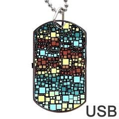 Block On Block, Aqua Dog Tag Usb Flash (one Side)