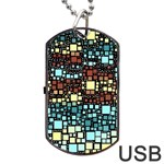 Block On Block, Aqua Dog Tag USB Flash (One Side) Front