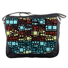 Block On Block, Aqua Messenger Bags by MoreColorsinLife