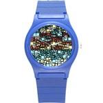Block On Block, Aqua Round Plastic Sport Watch (S) Front