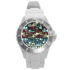 Block On Block, Aqua Round Plastic Sport Watch (l) by MoreColorsinLife