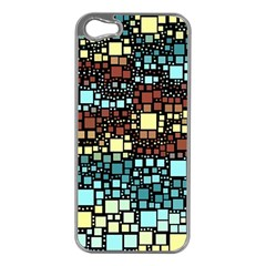 Block On Block, Aqua Apple iPhone 5 Case (Silver)