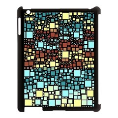 Block On Block, Aqua Apple Ipad 3/4 Case (black) by MoreColorsinLife