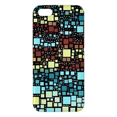 Block On Block, Aqua Apple Iphone 5 Premium Hardshell Case