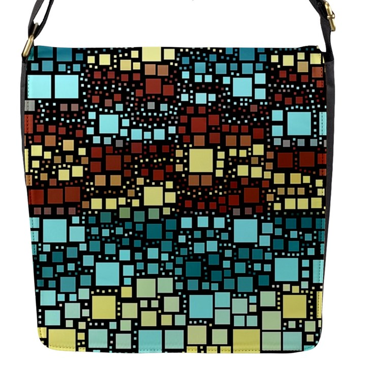 Block On Block, Aqua Flap Messenger Bag (S)