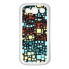 Block On Block, Aqua Samsung Galaxy S3 Back Case (white) by MoreColorsinLife