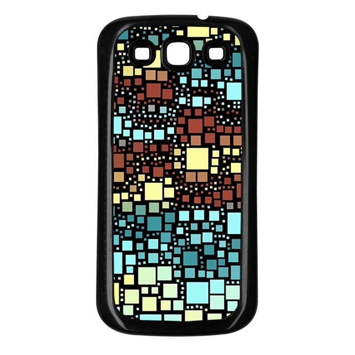 Block On Block, Aqua Samsung Galaxy S3 Back Case (Black)