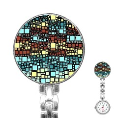 Block On Block, Aqua Stainless Steel Nurses Watch by MoreColorsinLife