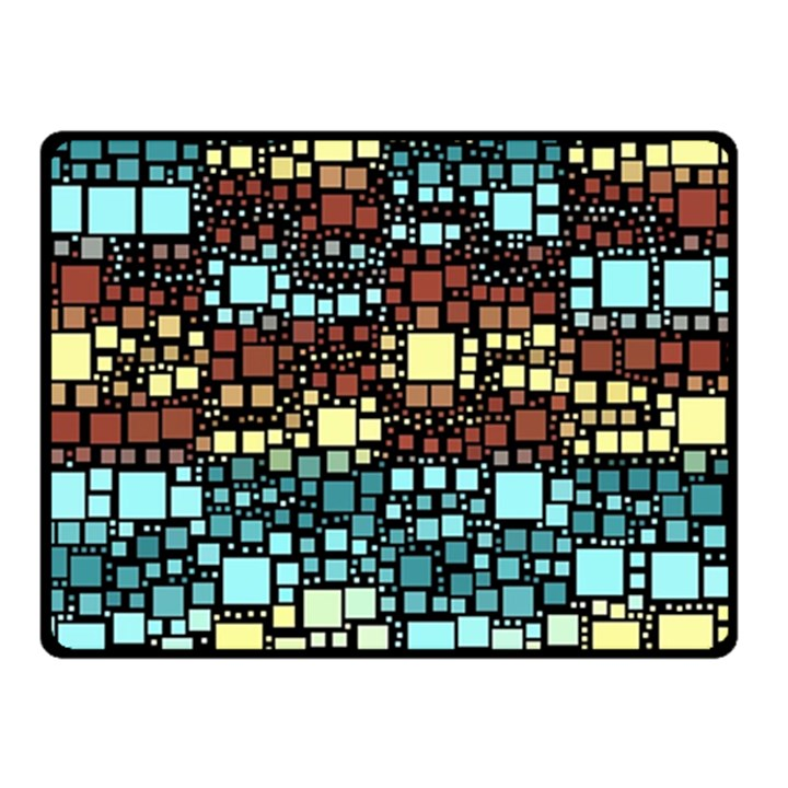 Block On Block, Aqua Double Sided Fleece Blanket (Small)