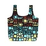 Block On Block, Aqua Full Print Recycle Bags (M)  Back