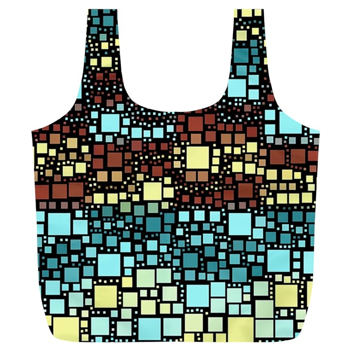 Block On Block, Aqua Full Print Recycle Bags (L)