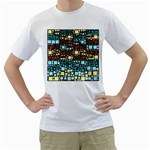 Block On Block, Aqua Men s T-Shirt (White)  Front