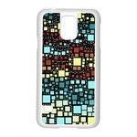 Block On Block, Aqua Samsung Galaxy S5 Case (White) Front