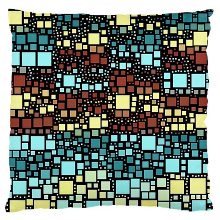 Block On Block, Aqua Large Flano Cushion Case (One Side)
