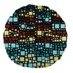 Block On Block, Aqua Large 18  Premium Flano Round Cushions Back