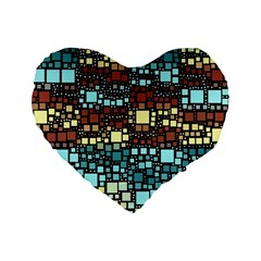 Block On Block, Aqua Standard 16  Premium Flano Heart Shape Cushions by MoreColorsinLife