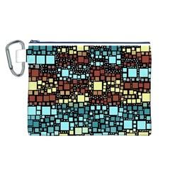 Block On Block, Aqua Canvas Cosmetic Bag (l) by MoreColorsinLife