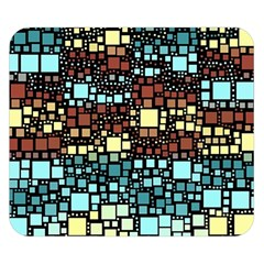 Block On Block, Aqua Double Sided Flano Blanket (Small)