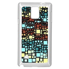Block On Block, Aqua Samsung Galaxy Note 4 Case (white) by MoreColorsinLife