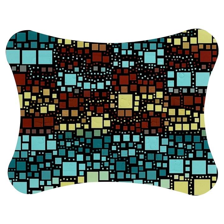 Block On Block, Aqua Jigsaw Puzzle Photo Stand (Bow)
