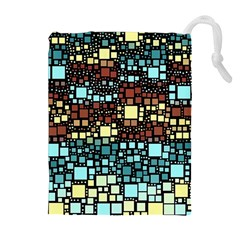 Block On Block, Aqua Drawstring Pouches (extra Large) by MoreColorsinLife