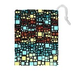 Block On Block, Aqua Drawstring Pouches (Extra Large) Front