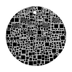 Block On Block, B&w Ornament (round)