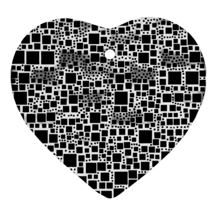 Block On Block, B&w Ornament (Heart)