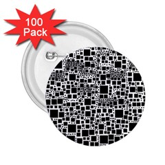 Block On Block, B&w 2 25  Buttons (100 Pack)