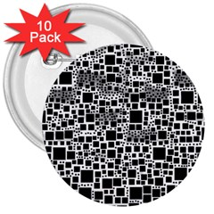 Block On Block, B&w 3  Buttons (10 Pack)  by MoreColorsinLife