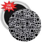Block On Block, B&w 3  Magnets (100 pack)