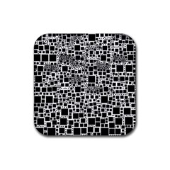 Block On Block, B&w Rubber Square Coaster (4 Pack)  by MoreColorsinLife
