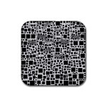 Block On Block, B&w Rubber Square Coaster (4 pack)  Front