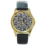 Block On Block, B&w Round Gold Metal Watch Front