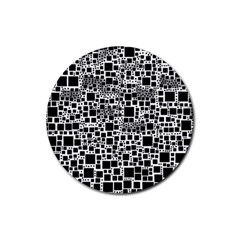 Block On Block, B&w Rubber Coaster (round)  by MoreColorsinLife