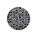Block On Block, B&w Rubber Round Coaster (4 pack)  Front