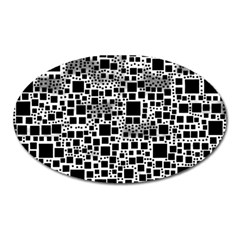 Block On Block, B&w Oval Magnet by MoreColorsinLife