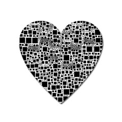 Block On Block, B&w Heart Magnet by MoreColorsinLife