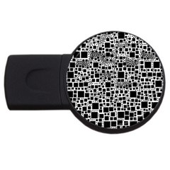 Block On Block, B&w Usb Flash Drive Round (2 Gb)  by MoreColorsinLife