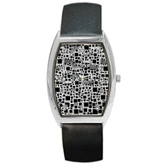 Block On Block, B&w Barrel Style Metal Watch by MoreColorsinLife