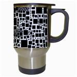 Block On Block, B&w Travel Mugs (White) Right