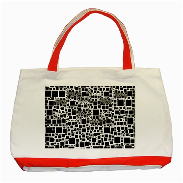 Block On Block, B&w Classic Tote Bag (Red)