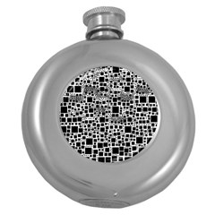 Block On Block, B&w Round Hip Flask (5 Oz) by MoreColorsinLife