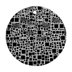 Block On Block, B&w Round Ornament (Two Sides)  Back