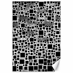 Block On Block, B&w Canvas 12  X 18   by MoreColorsinLife
