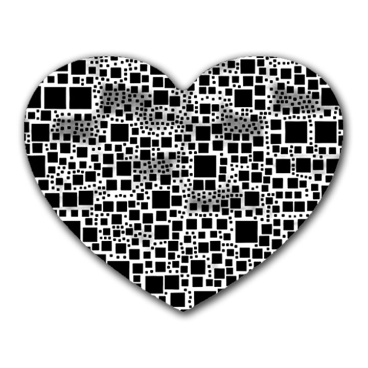Block On Block, B&w Heart Mousepads