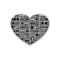 Block On Block, B&w Heart Coaster (4 Pack)  by MoreColorsinLife