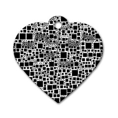 Block On Block, B&w Dog Tag Heart (two Sides) by MoreColorsinLife