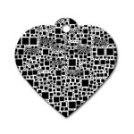 Block On Block, B&w Dog Tag Heart (Two Sides) Back