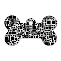 Block On Block, B&w Dog Tag Bone (two Sides) by MoreColorsinLife
